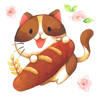 大きなフランスのバゲットを抱き締める小さな猫