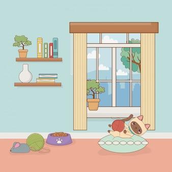 家の部屋の小さな猫マスコット