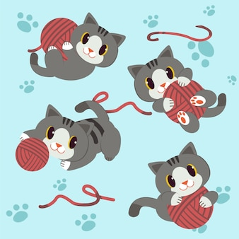 Little cat play a yarn with footstep background