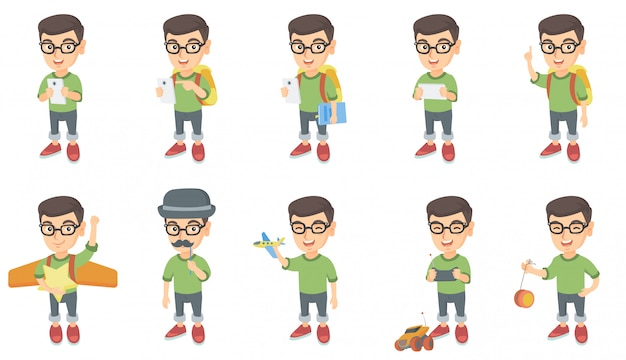 Little caucasian boy character set