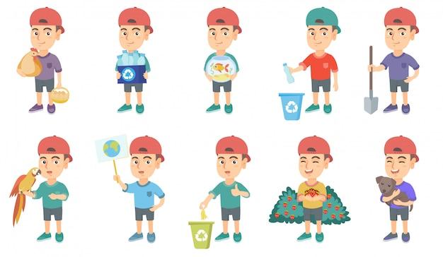 Little caucasian boy character set