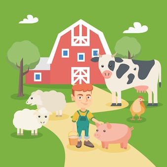 Little caucasian boy with farm animals.