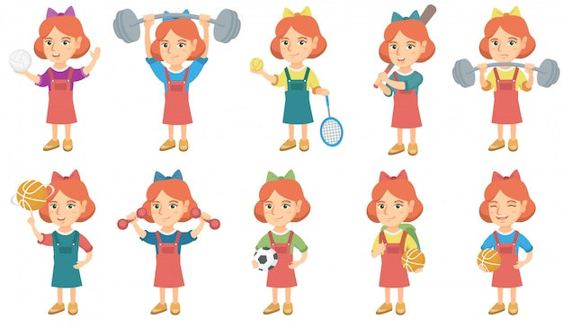 Little caucasian girl character set