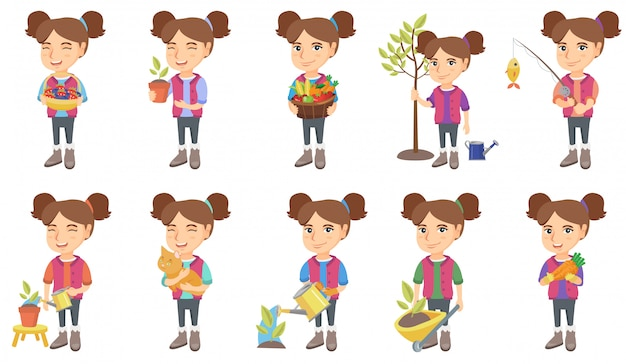 Little caucasian girl character set