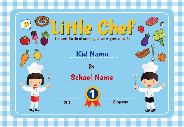 Little chef cooking class diploma certificate