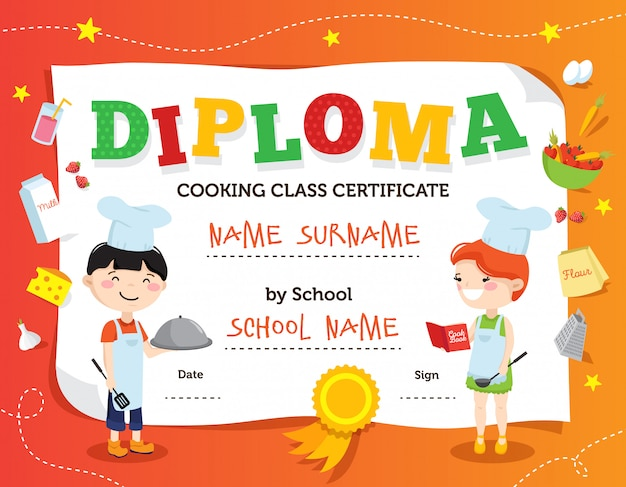 Little chef diploma design with cartoon teenager cook characters flat decorations and fields for personal data vector illustration