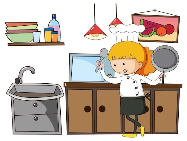 Маленький повар с кухонным оборудованием на белом фоне
