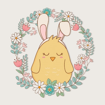 Little chick with ears rabbit easter character