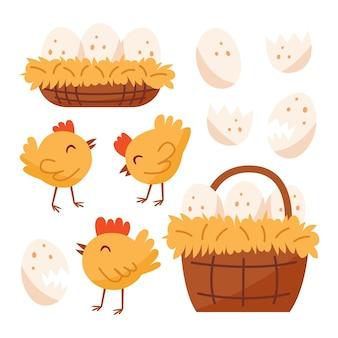 小さな鶏、鳥、家畜、卵の入ったバスケット、巣。