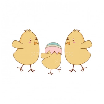 Little chicks with broken eggs easter characters