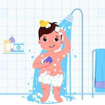 작은 아이 소년 캐릭터 샤워를합니다. 일상 업무. 욕실 인테리어 배경입니다.