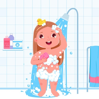 Little child girl character take a shower. daily routine. bathroom interior background.