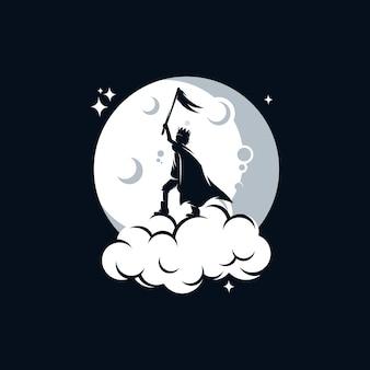 Маленький ребенок держит флаг на луне