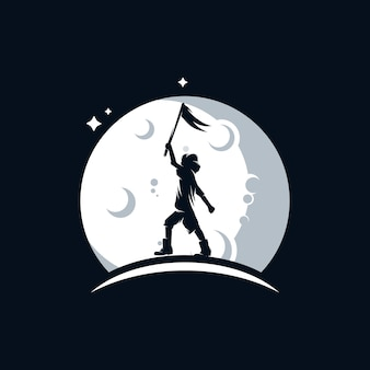 Little child holds a flag on the moon logo