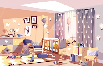 Little child messy room interior with scattered toys