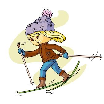 暖かい服を着てスキーをする小さな子供漫画のキャラクター幸せな子供時代の活動冬の休日