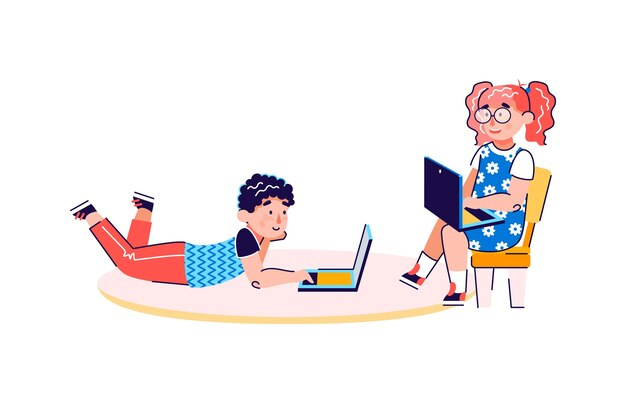 ノートパソコンを使用して小さな子供たちの漫画のキャラクター