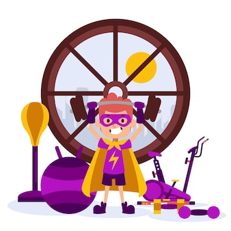 Little children character in costume with lightning, cloak, window. superhero training, treadmill, dumbbell, barbell,vector illustration.