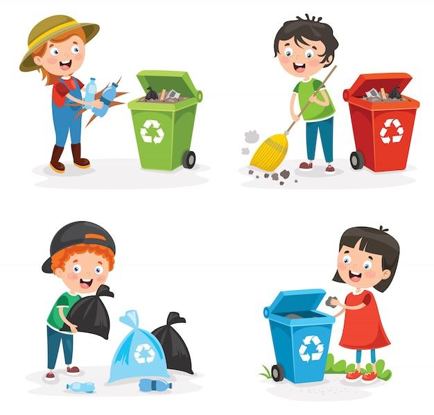 Маленькие дети убирают и перерабатывают мусор