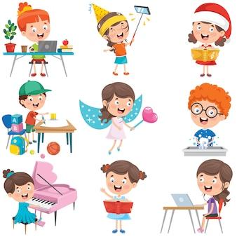 Little children doing various activities