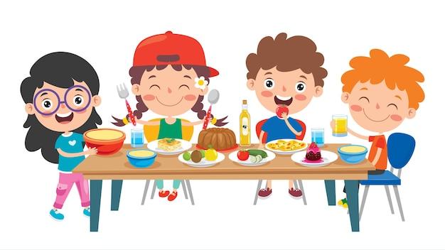 Маленькие дети едят здоровую пищу