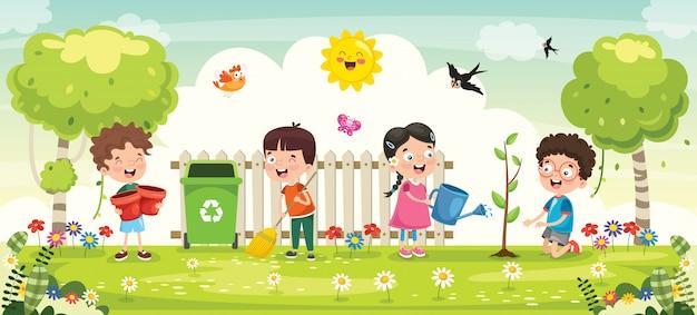 어린 아이들 원예 및 심기