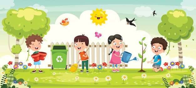 Little children gardening and planting