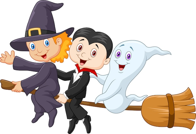 Little children and ghost fly with broom