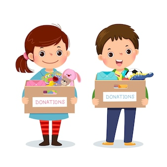 Little children girl and boy holding donation box with clothes and toys