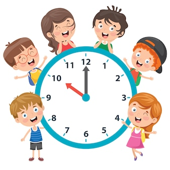 Little children holding a clock