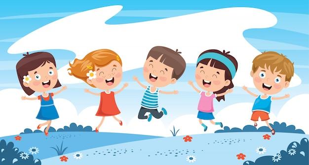 自然で遊ぶ小さな子供たち