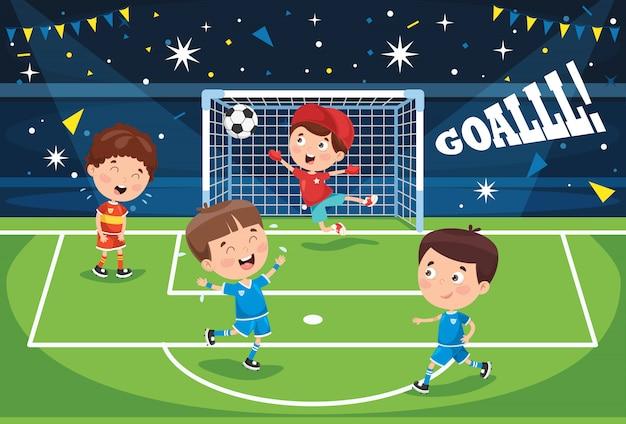 屋外サッカーをしている小さな子供たち