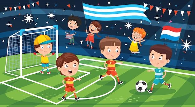 Little children playing football outdoor