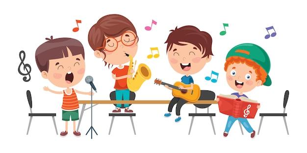 教室で音楽を遊んでいる小さな子供たち