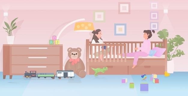 집이나 유치원 어린 시절 개념 침실 인테리어에서 재미 침대 귀여운 소녀 장난감을 재생하는 어린 아이