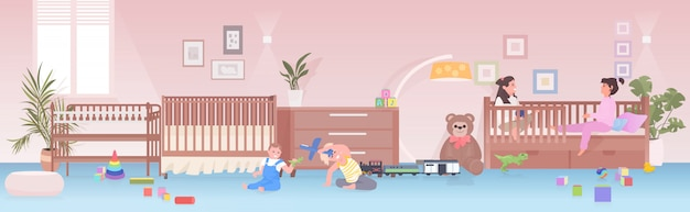 집이나 유치원 어린 시절 개념 놀이 방 인테리어에서 재미 장난감 아이 소녀를 재생하는 어린 아이