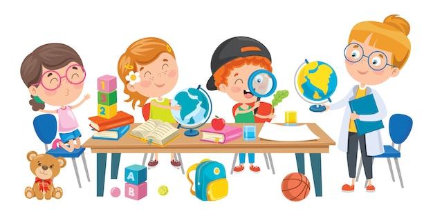 Маленькие дети учатся в классе