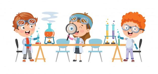 Little children studying chemisty class