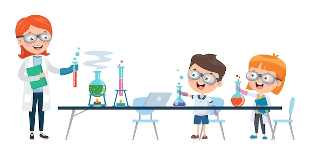 化学教室を勉強している小さな子供たち