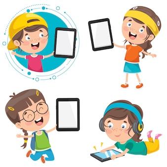 Little children using technology devices