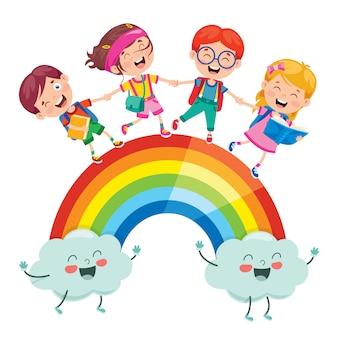 虹の上を歩く小さな子供たち