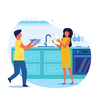 Little children washing dishes vector illustration