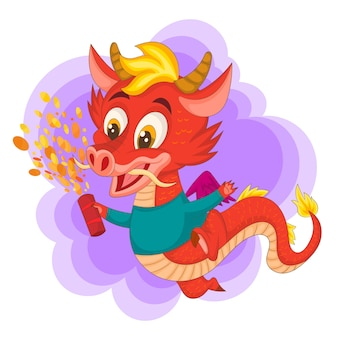 Little chinese red dragon character