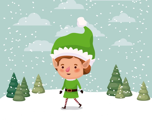 Little christmas elf character in snowscape vector illustration design