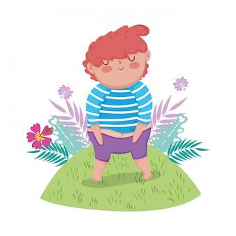 Little chubby boy in the landscape