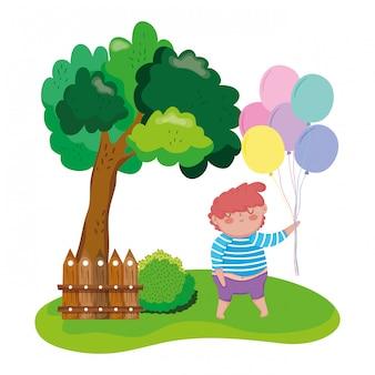 풍경에 풍선 헬륨 통 통한 소년