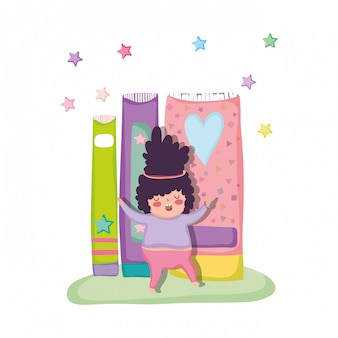 Little chubby boy with books