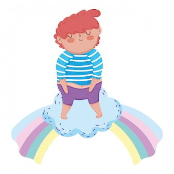 Little chubby boy with rainbow
