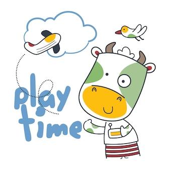 小さな牛とおもちゃの飛行機面白い動物の漫画