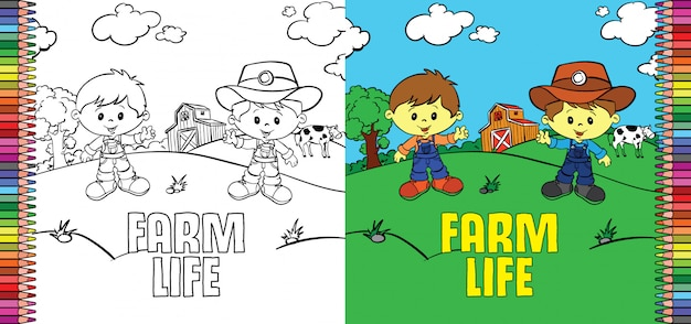 Little cowboy farm life coloring page for children